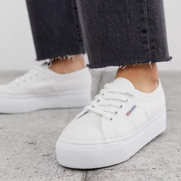 Nwt White Platform Sneakers Size 8
